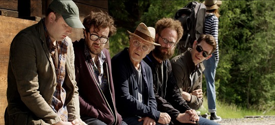 "Mark Gessner as ""Shy Screenwriter,"" Nate Dern as ""Funny Screenwriter,"" Harvey Keitel as ""Mick,"" Alex Beckett as ""Intellectual Screenwriter"" and Tom Lipinski as ""Screenwriter in Love"" in YOUTH. Photo courtesy of Fox Searchlight Pictures. © 2015 Twentieth Century Fox Film Corporation All Rights Reserved"